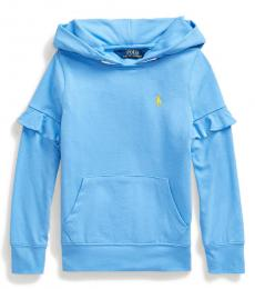 Ralph Lauren Little Girls Harbor Island Blue Ruffled Hoodie