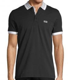 Black Logo-Patch Cotton Polo