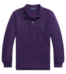 Ralph Lauren Little Boys Brandford Purple Long-Sleeve Polo
