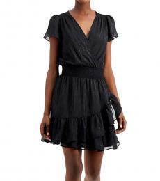 Michael Kors Black Ruffled Shimmer Dress