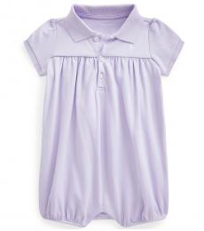Ralph Lauren Baby Girls Flower Purple Interlock Bubble Shortall
