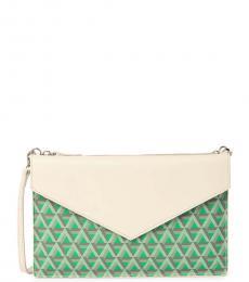 Lancaster Paris Green Ikon Envelope Medium Crossbody Bag
