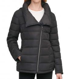 DKNY Black Asymmetrical Hooded Packable Puffer Coat
