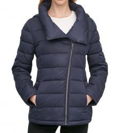 DKNY Navy Asymmetrical Hooded Packable Puffer Coat