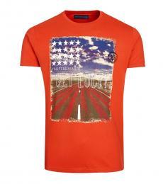 Trussardi Orange Allover Road Trip Print T-Shirt