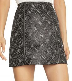 BCBGMaxazria Metal Basket Weave Jacquard Mini Skirt
