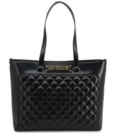 Love Moschino Black Quilted Large Tote