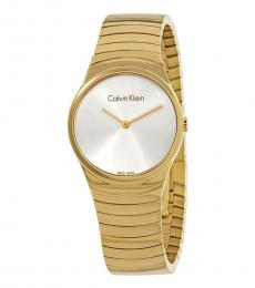 Gold Whirl Silver Dial Watch