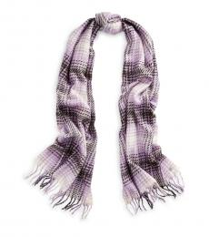 Pale Lilac Plaid Brushed Scarf
