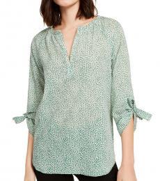 Michael Kors Light Green Cotton Printed Tie-Sleeve Blouse