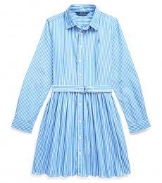 Ralph Lauren Girls Blue/White Striped Shirtdress
