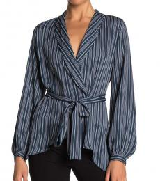 Dark Blue Wrap Long Sleeve Blouse