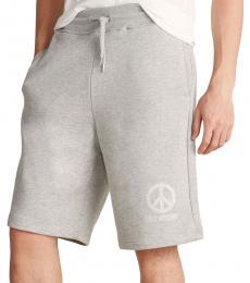Light Grey Printed Logo Shorts