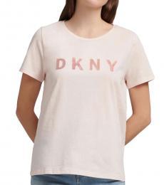 DKNY Light Pink Glitter Logo Tee