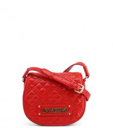Love Moschino Red Logo Strap Quilted Small Crossbody