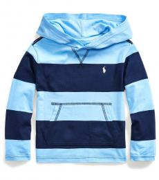 Little Boys Blue Striped Hooded T-Shirt
