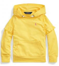Ralph Lauren Little Girls Signal Yellow Ruffled Hoodie