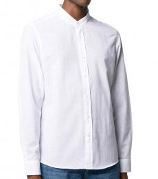 White Mandarin Plain Shirt
