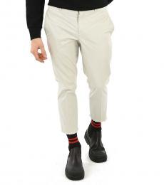White Chino Frayed Hem Pants