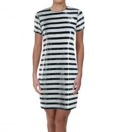 Winter Cream Sequined Striped Shift Dress