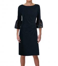 Ralph Lauren Navy Lace Bell Sleeve Dress