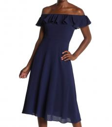 Betsey Johnson Navy Off-The-Shoulder  Dress