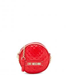 Love Moschino Red Quilted Round Mini Crossbody