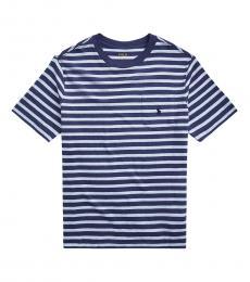 Ralph Lauren Boys Elite Blue Heather Multi Striped T-shirt