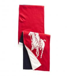 Ralph Lauren Red-Navy Color-Blocked Jacquard-Knit Scarf