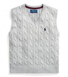 Ralph Lauren Little Boys League Heather Cable-Knit Sweater Vest