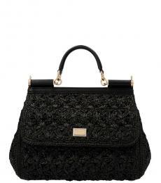 Dolce & Gabbana Black Sicily Medium Satchel