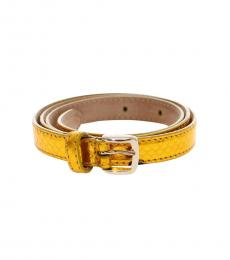 Yellow Snakeprint Logo Belt