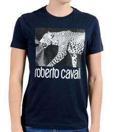 Roberto Cavalli Blue Graphic Leopard Crewneck T-Shirt