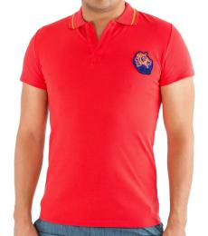 Red Contrast Logo Patch Polo