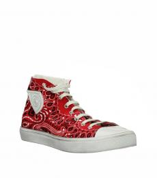 Red Printed High Top Sneakers
