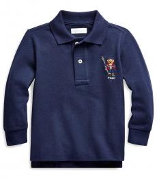 Ralph Lauren Baby Boys Navy Ski Bear Polo
