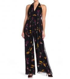 Diane Von Furstenberg Black Halter Silk Jumpsuit