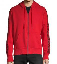 Ruby Red Full-Zip Cotton Hoodie