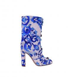 Blue Majolica Printed Boots