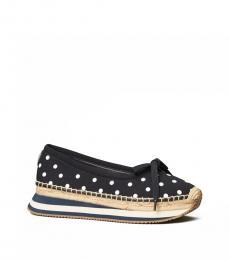 Navy Polka Dot Daisy Ballet Flats