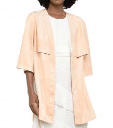 BCBGMaxazria Pink Sand Faux Suede Open Front Jacket