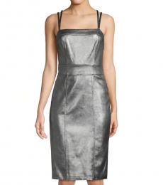 BCBGMaxazria Grey Faux Leather Sheath Dress