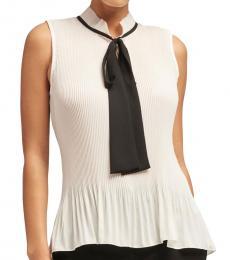 BlackWhite Tie-Neck Pleated Top