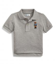 Ralph Lauren Baby Boys Andover Heather Rugby Bear Polo