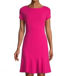 Karl Lagerfeld Dark Pink Boatneck Mini Dress