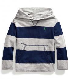 Ralph Lauren Little Boys Grey Striped Hooded T-Shirt
