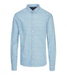 Armani Jeans Aqua Checkered Classic Shirt