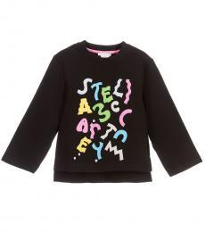 Stella McCartney Little Girls Black Logo Graphic Sweatshirt