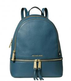 Michael Kors Chambray Blue Rhea Zip Medium Backpack