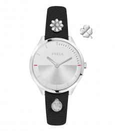 Furla Black Pin Silver Dial Watch